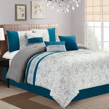 teal queen comforter. Blue And Gray Bedding Aiden Floral Embroidered 7 Piece Queen Comforter Set In Teal