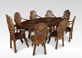 indian carved dining table. anglo-indian carved walnut dining suite indian table w