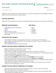science lesson plan our solar system turning around