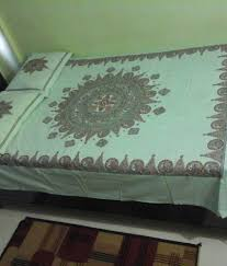 Mithila Painting Bed Sheet Design Suchitra Multicolour Traditional Mithila Handpainted Cotton