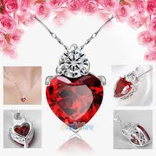 details about 925 sterling silver red garnet heart crystal pendant necklace valentine gift box