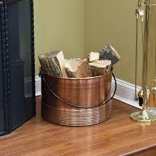 ribbed cauldron copper firewood holder with handle antique copper
