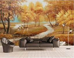 3D Wallpaper Murals Gold Autumn Deer ...