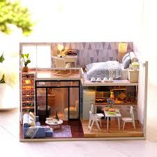 Miniature dollhouse furniture Printable Diy Doll House Wooden Miniature Dollhouse Furniture Kit Toys With The Led Light And Small Lamp Great Gift For Children Doll House Figurines Dolls House Toy Amazing Miniatures Diy Doll House Wooden Miniature Dollhouse Furniture Kit Toys With