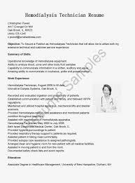 ... First Rate Dialysis Technician Resume 4 Dialysis Technician Resume  Sample ...