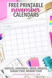 November 2019 Calendar Pretty Free November Printable