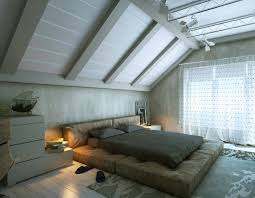 General: Red Black Beige Bedroom Sloped Ceiling - Attic Room
