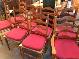 rush chair seat cushions. set of 8, including 2 arm chairs sticlkey ladder back rush seat chairs. (pottery barn pads included) chair cushions