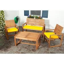safavieh ozark 4 piece patio seating set with yellow cushions