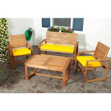 safavieh ozark 4 piece patio seating set with yellow cushions