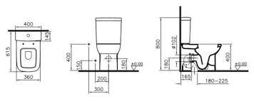 <b>Унитаз</b> с бачком напольный <b>VitrA S20 9800B003</b>-<b>7204</b> с гориз ...