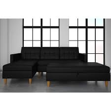 dhp hartford black faux leather storage sectional futon and storage ottoman 2197009 the home depot