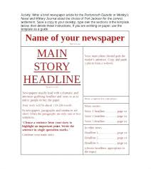 Download Our Sample Of Newspaper Report Template Free