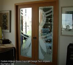 fused etched glass door panels ideas for interior double doors