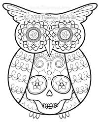 day of the dead coloring book owl by thaneeya at day of the dead coloring pages free