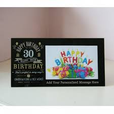personalised gl 30th birthday photo frame in black