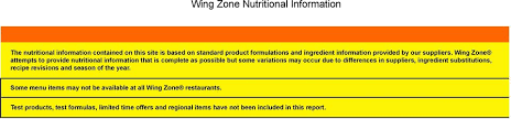 wing zone attempts to provide nutritional information that is plete as possible but some variations may