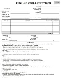 Purchase Order Request Form Template Free Download Edit Fill