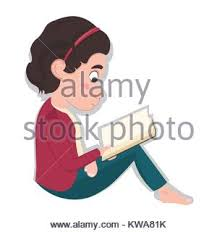 with closed eyes and open book little caucasian sitting and reading a book isolated on white background stock photo