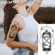1pc Light Hot Black White Large Flower Henna Temporary Tattoo Black Mehndi Style Waterproof Tattoo Sticker