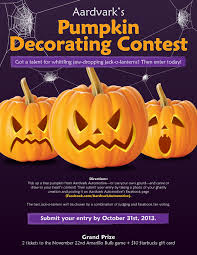 pumpkin carving contest flyer enter aardvarks pumpkin decorating contest deadline october 31st