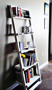 wooden ladder shelf furniture. Lovely Unique Floating Bookcase On White Wall Cool Plus Ivory Decorations Images Wooden Ladder Shelf Furniture U