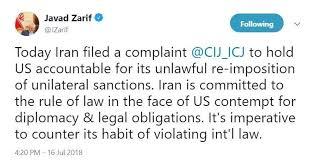 Image result for ظریف: از آمریکا به دیوان بینالمللی دادگستری شکایت کردیم