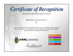 Certificate of appreciation amateur radio