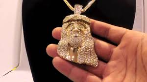 iced out gold piece pendant w 36 franco chain lab made hip hop jewelry you