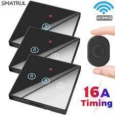 SMATRUL Mini 16A akıllı ev dokunmatik anahtarı ışık kablosuz 433Mhz modülü  elektrik 2 yollu zamanlama uzaktan kumanda Led lamba kapalı|Switches