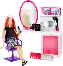barbie sparkle style salon blonde doll playset