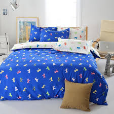 poly cotton king size duvet covers plan polyester bedding blue animal horse printed bed set