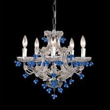 paris flea market chandelier in chrome with crystal gs color blue