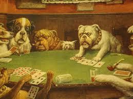 dogs playing bridge