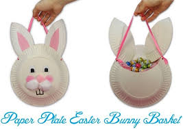 diy paper plate easter bunny basket easter crafts with paper plates