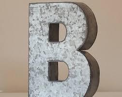 Sale LARGE METAL LETTER Zinc Steel Initial Home Room Decor Diy Signs Letter  Vintage Style Gray