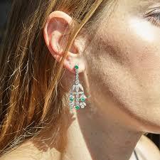 vintage diamond and emerald platinum chandelier earrings