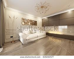 beige living room. Modern Classic Beige Living Room Interior Design With Large Sofa And Fireplace Gold