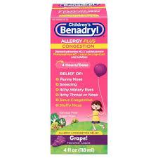 Benadryl D Dosage Chart Childrens Benadryl Allergy Plus Congestion Relief Liquid