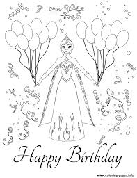 Disneys Frozen Anna Birthday Party Colouring Page Coloring Pages