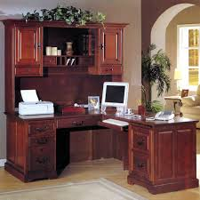 corner office desk ideas using corner brown cherry computer desk with hutch and keyboard drawer