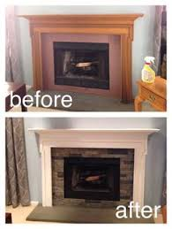 completely redid our family room fireplace in just a half day gave the mental fresh coat of paint and resurfaced tile with airstone from loweu0027s painting m74 fireplace