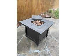 square gas fire pit by garden treasures