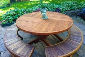karyn s redwood round folding picnic table