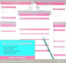 Pet Information Template Dog Vaccination Pet Record Template Form Health Excel Gotta