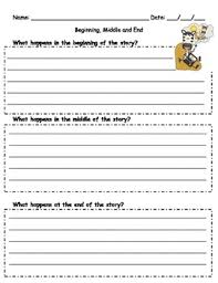 Story Template Beginning Middle End Beginning Middle End Template Worksheets Teaching