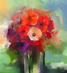 abstract oil paintings a bouquet of gerbera flowers in vase stock ilration ilration of