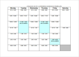 Sample College Class Schedule College Schedule Template 6 Free Sample Example Format Download