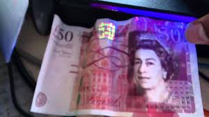 Fake 20 Pound Note Under Uv Light 50 Pound Note Youtube