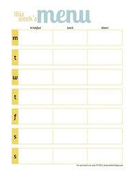 Printable Weekly Dinner Menu Free Printable Meal Planner Template One Wmeal Page Weekly